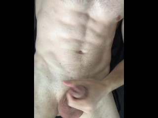 Very horny fit guy jerks off his delicious cock until the last drop of thick cum. The perfect wank