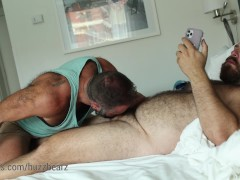 Walking in on my bear jerking off so I jumped on his cock