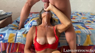 Stepson in thong mouth fuck granny and facial semen sperm