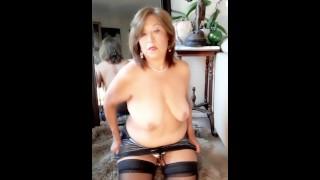 Mature Latina woman striptease masturbating fingering orgasm