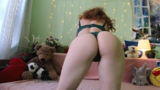 Russian redhead milf tease with long legs and ass in thongs doggystyle
