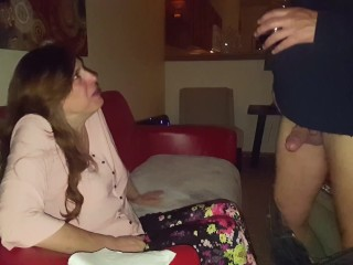 Friend Gives my Wife Wine from His Cock