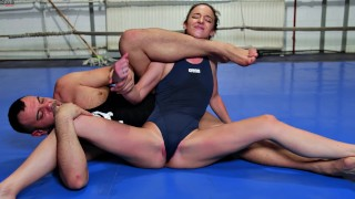 Mixed Sexfight - Amirah Adara defeated by Muscular Guy with Creampie Cumshot