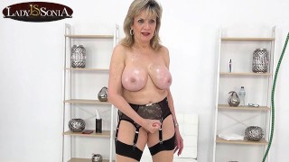 Lady Sonia wants you to spew your load on her tits