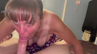 Mature Marie sucking dick and getting her mouth overflowed with cum.