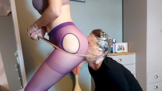 Slaves Femdom work out session to earn sex with his Mistress! Ass and feet worshipping torture!!