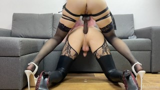 Amateur girl pegging her sissy boy
