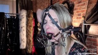 Slut-Orgasma Celeste my new deep throat training gag