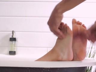 hot Bathroom Footjob