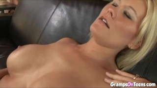 Blonde gets her pussy licked by older guy