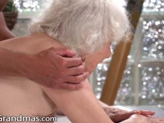 LustyGrandmas Thick GILF Gets Her Vintage Pussy Stuffed By Masseur's Cock