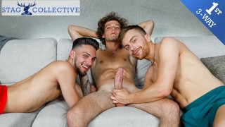 Hot Muscle Jocks Have Their First Gay Threesome - StagCollective