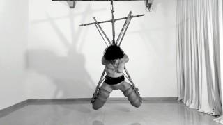 Pulling her panties and making her cum - Shibari suspension ORGASM