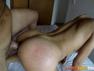 Latina spreads cheeks for my big cock