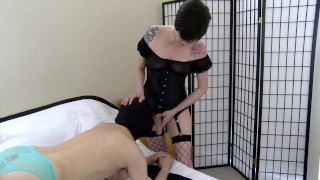 Mouthpussy - Mrs Mischief shoves her cock down his sissy throat