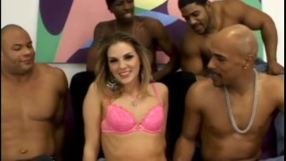 White chick gangbanged by black dudes