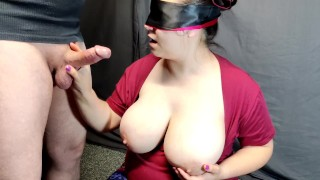 Blind folded step mom blow her son's best friend by surprise!! CONFUSED BY NEW COCK!!