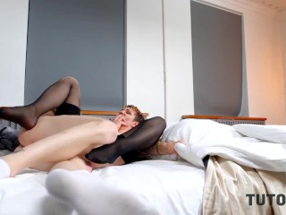 TUTOR4K. Tricky boy manages to drill mature tutor in black stockings