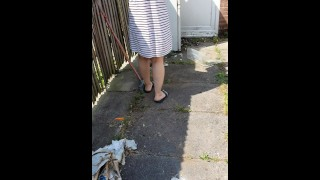 Step mom in short skirt doesn't wear panties get fucked in the garden