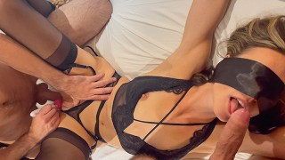 Friends Share Tied & Blindfolded Wife / Husband Films Creampie and Cums on Her Pussy / Female Orgasm