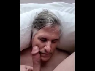 Master deluges my face with cum, slow mo instant replay