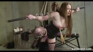 Hot Teen Blonde Bound And Suspended While Older Maledom Drills Her With Vibrator