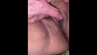 Filipina granny little dark pussy soaked while getting fingered by grand daughters boyfriend