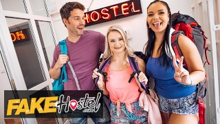 Fake Hostel - Busty Couple Sofia Lee & Lily Joy Have Some Fun With Tommy Woods' Cock At The Hostel