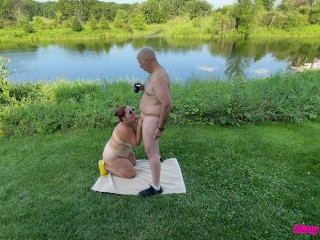 Naked Outdoor Blowjob – Missy Sucks Georges Thick Uncut Cock Outside in Daylight