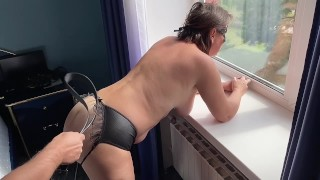 Stand up belt spanking big ass submisiive wife near window