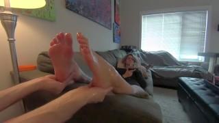 My Horny Step Son Worship's & Rubs my Pretty Pink Soles! (Full Video) 1080p HD