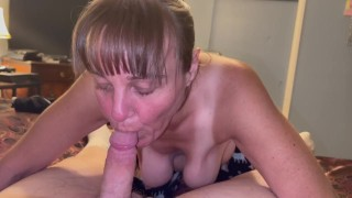 Granny with saggy boobs sucking till oral creampie and showing cum in mouth and swallowing