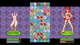Doki Doki Tri-line [Hentai NSFW game] Ep.1 Succubus catfight tear their clothes while fighting