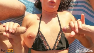 My Wife lets a Stranger Finger her on the Beach and Plays with 2 Cocks