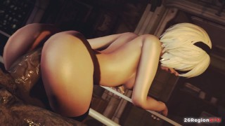 3D Anime - What if 2B lost to an Alien [Uncensored]