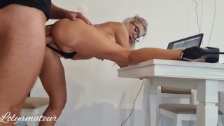I work from home and Stepson fuck and give me to drink his sperm-Perfect day!
