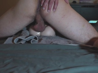 watch him cumming inside doll from behind..
