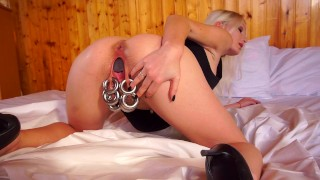 Compilation Extreme Pierced Blonde Pussy Stretching With Drink Cans