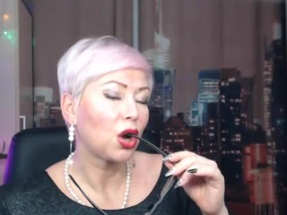 Mature Russian webcam whore AimeeParadise in a fur coat blows smoke in face of her virtual slave!