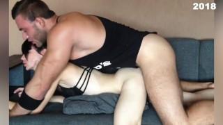 Домашнее порно, качок трахает студентку Нику, глубокий минет, компиляция 2016 - 2018