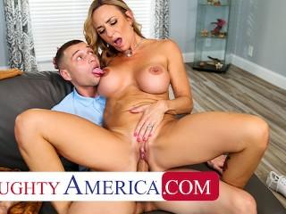 Naughty America - Hot blonde Milf Kenzi Foxx hustle's the pool table cleaner into fucking her wet pu