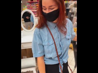 Public play with lovense lush inside the store KleoModel orgasm
