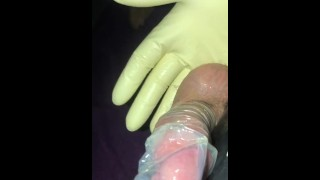 Five layers of latex and a condom with silicone lube.