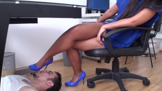 asian office chief have her own shoe slave