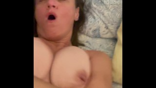Granny's saggy boobs bouncing as she gets her pussy and ass filled with cum. Pushing out creampies!