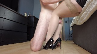 Stepmom put on stockings and heels and allowed her legs to be fucked