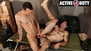 ActiveDuty - SGT Shows Newbie How To Take A Big Dick.