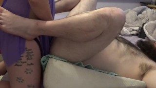 Homemade pegging missionary style BBC dildo strap on with sexy pawg hairy ink'd wife part 1