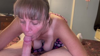 Granny Marie sucking the cum out of cub and swallowing every last drop