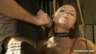 Horny Brunette Sub Slut Puts On A Show For Audience With Her Dom Master